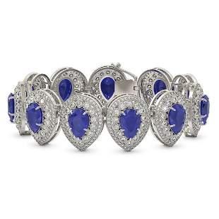 56.04 ctw Sapphire & Diamond Victorian Bracelet 14K