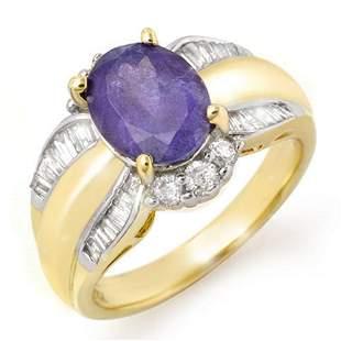 3.52 ctw Tanzanite & Diamond Ring 14k Yellow Gold -