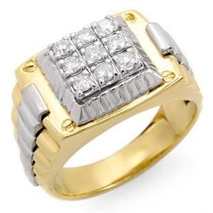0.50 ctw Certified VS/SI Diamond Men's Ring 2-Tone 18k