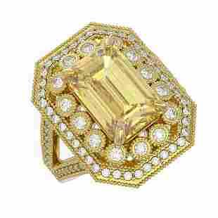 5.85 ctw Canary Citrine & Diamond Victorian Ring 14K