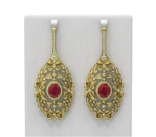 18.58 ctw Ruby & Diamond Earrings 18K Yellow Gold -