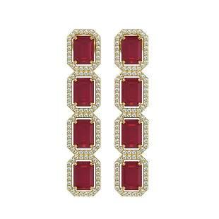 12.33 ctw Ruby & Diamond Micro Pave Halo Earrings 10k