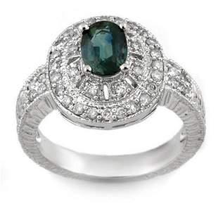 2.08 ctw Blue Sapphire & Diamond Ring 18k White Gold -