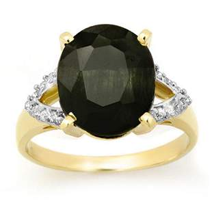 6.58 ctw Blue Sapphire & Diamond Ring 10k Yellow Gold -