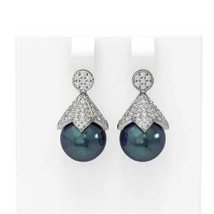 1.56 ctw Diamond & Pearl Earrings 18K White Gold -
