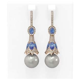 6.82 ctw Tanzanite & Diamond Earrings 18K Rose Gold -