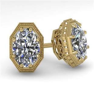 1.0 ctw VS/SI Oval Cut Diamond Stud Earrings Art Deco