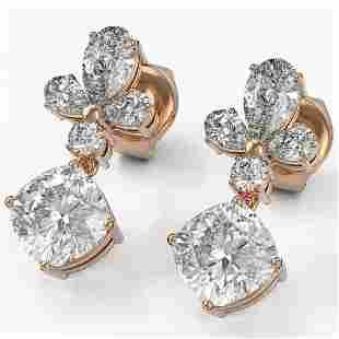 2.75 ctw Cushion Cut Diamond Designer Earrings 18K Rose