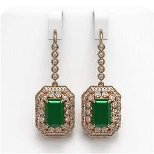 14.16 ctw Certified Emerald & Diamond Victorian
