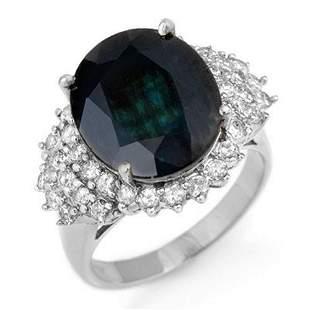 9.88 ctw Blue Sapphire & Diamond Ring 18k White Gold -