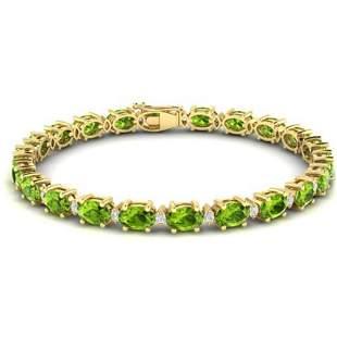 19.7 ctw Peridot & VS/SI Diamond Eternity Bracelet 10k