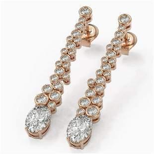 2.5 ctw Oval Cut Diamond Designer Earrings 18K Rose