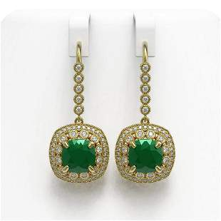12.9 ctw Certified Emerald & Diamond Victorian Earrings