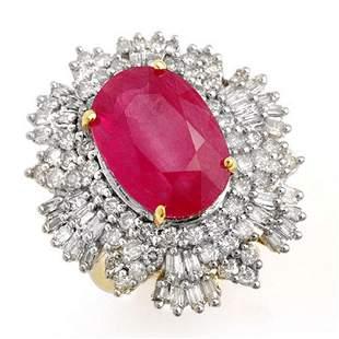 12.16 ctw Ruby & Diamond Ring 14k Yellow Gold -