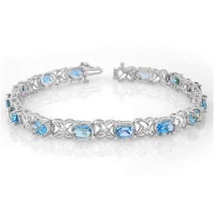 13.55 ctw Blue Topaz & Diamond Bracelet 14k White Gold