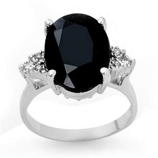 7.76 ctw Blue Sapphire & Diamond Ring 18k White Gold -