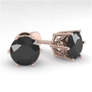 4.0 ctw Black Certified Diamond Stud Earrings 18k Rose