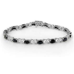 10.81 ctw Blue Sapphire & Diamond Bracelet 18k White