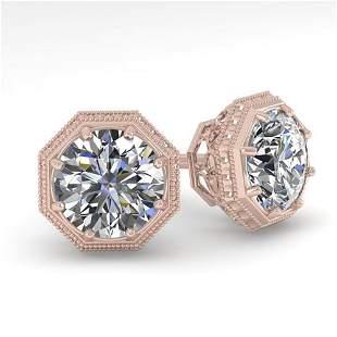 1.0 ctw VS/SI Diamond Stud Earrings Art Deco 18k Rose