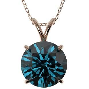 2.50 ctw Certified Intense Blue Diamond Necklace 10k
