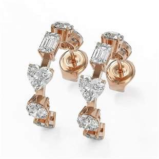 4.2 ctw Mix Cut Diamonds Designer Earrings 18K Rose