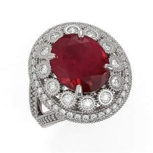 8.76 ctw Certified Ruby & Diamond Victorian Ring 14K