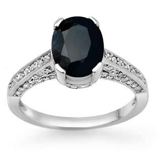 3.50 ctw Blue Sapphire & Diamond Ring 18k White Gold -