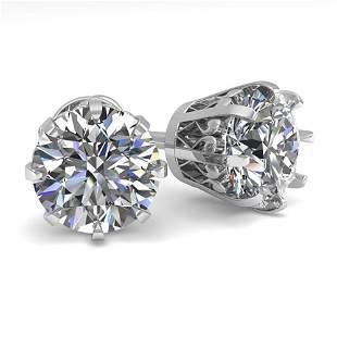 3 ctw VS/SI Diamond Stud Solitaire Earrings Vintage 14k