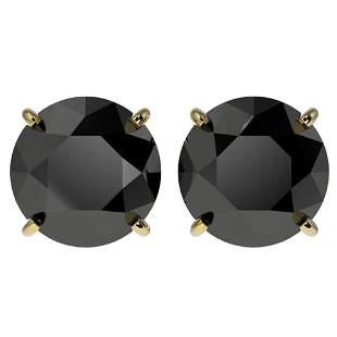 4.19 ctw Fancy Black Diamond Solitaire Stud Earrings