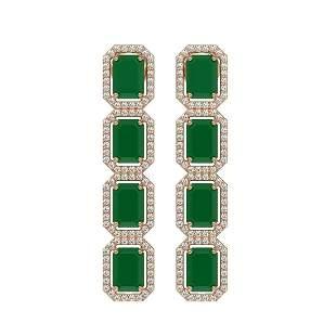 12.33 ctw Emerald & Diamond Micro Pave Halo Earrings