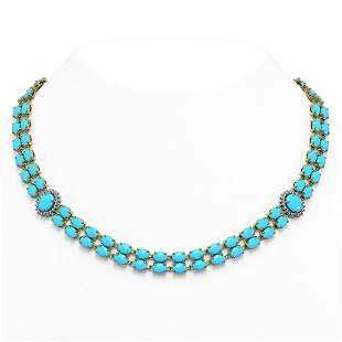 47.17 ctw Turquoise & Diamond Necklace 14K Yellow Gold