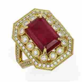 7.11 ctw Certified Ruby & Diamond Victorian Ring 14K