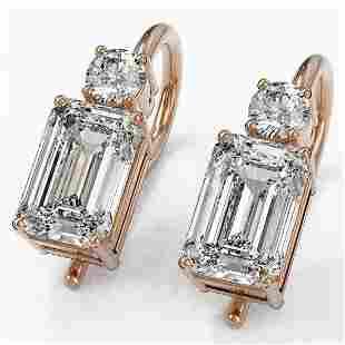 1.25 ctw Emerald Cut Diamond Designer Earrings 18K Rose
