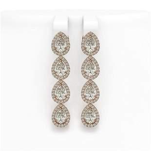 6.01 ctw Pear Cut Diamond Micro Pave Earrings 18K Rose
