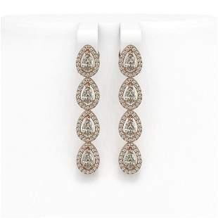 4.52 ctw Pear Cut Diamond Micro Pave Earrings 18K Rose
