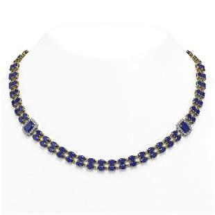 41.63 ctw Sapphire & Diamond Necklace 14K Yellow Gold -