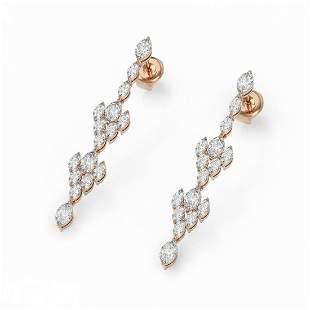 5.28 ctw Marquise Cut Diamond Designer Earrings 18K