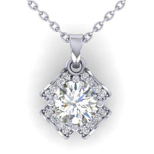 0.95 ctw VS/SI Diamond Art Deco Stud Necklace 14k White