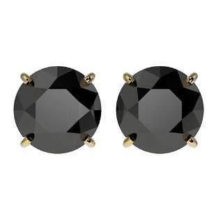 3.18 ctw Fancy Black Diamond Solitaire Stud Earrings