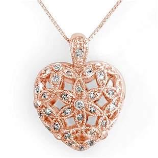 0.70 ctw Certified VS/SI Diamond Necklace 14k Rose Gold