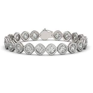 15.58 ctw Cushion Cut Diamond Micro Pave Bracelet 18K