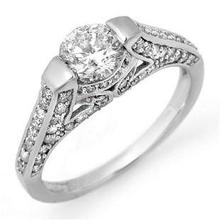 1.42 ctw Certified VS/SI Diamond Ring 18k White Gold -