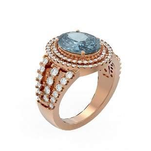 4.89 ctw Blue Topaz & Diamond Ring 18K Rose Gold -