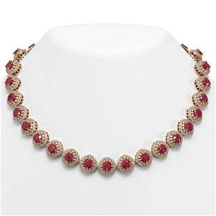 82.17 ctw Certified Ruby & Diamond Victorian Necklace