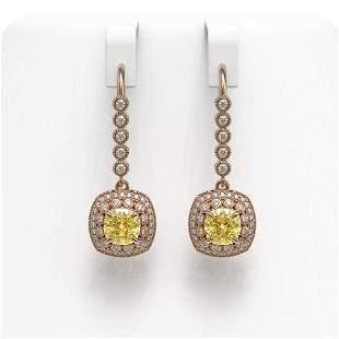 4.1 ctw Canary Citrine & Diamond Victorian Earrings 14K