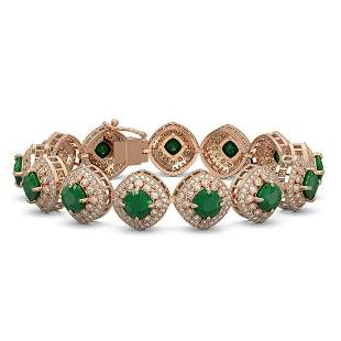 37.35 ctw Emerald & Diamond Victorian Bracelet 14K Rose
