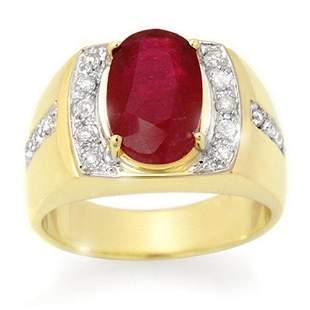 6.33 ctw Ruby & Diamond Men's Ring 10k Yellow Gold -