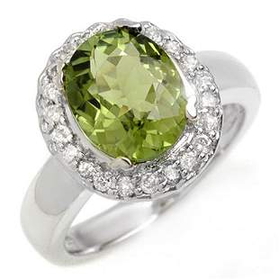 3.40 ctw Green Tourmaline & Diamond Ring 10k White Gold