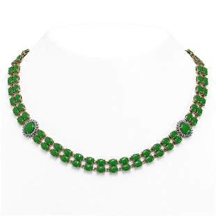 65.77 ctw Jade & Diamond Necklace 14K Rose Gold -