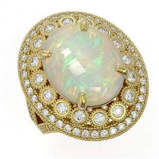 9.48 ctw Certified Opal & Diamond Victorian Ring 14K